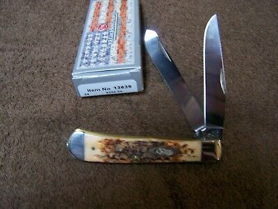 CASE XX HONEY BROWN JIGGED BONE 6254 4 1/8 INCH TRAPPER Pocket Knife 13639 NEW