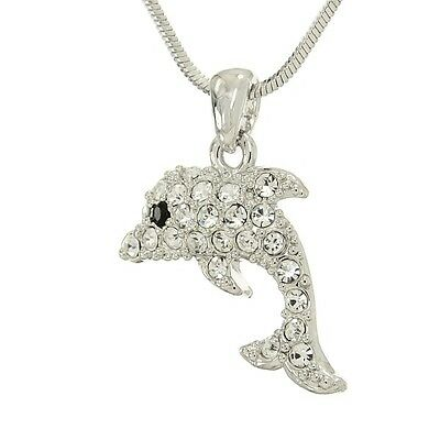 "Dolphin Pendant Made With Swarovski Crystal Ocean Necklace Sea Marine 18"" Chain"