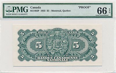 BANQUE CANADIENNE NATIONALE 5 Dollars 1935 Proof Note Back - PMG 66 Gem UNC EPQ