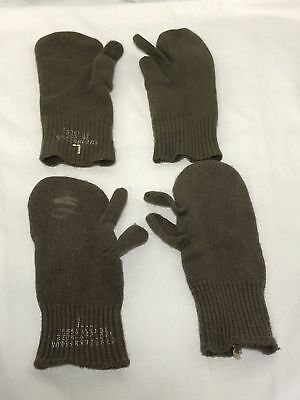 Vintage Us Military Trigger Finger Mitten Inserts Wool & Nylon Large Usgi 2 Sets
