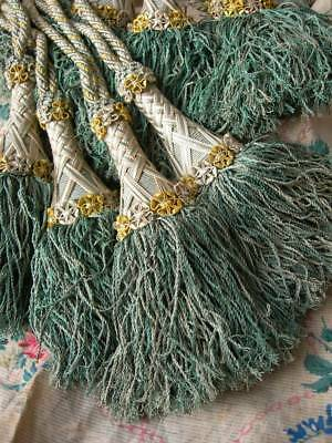 4 exquisite antique French silk passementerie tassels 1880s (A)