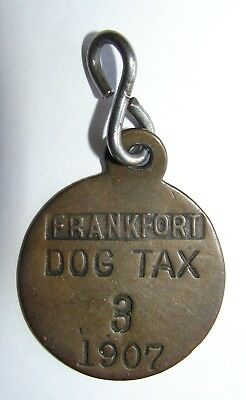 Vintage Antique Frankfort Kansas Brass 1907 Dog Tax License Tag