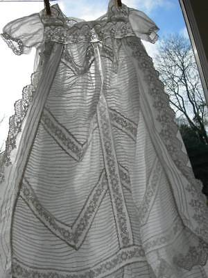 Adorable antique French 19th Century embroidered christening gown