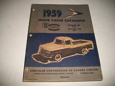 1959 Dodge/fargo Truck Original  Illustrated Parts Catalog M-Series Incl. 4Wd