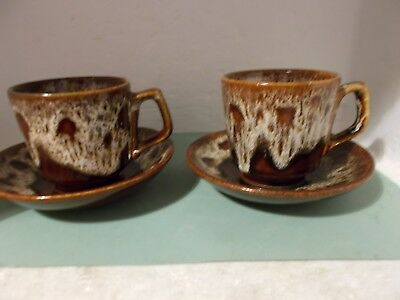 Fosters Pottery Honeycomb cups and saucers x 2 (a)