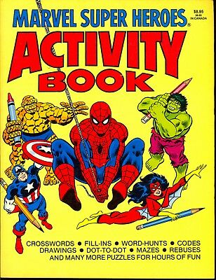 Marvel Super Heroes Activity Book Rare Vintage UNUSED 1981 432 Pages