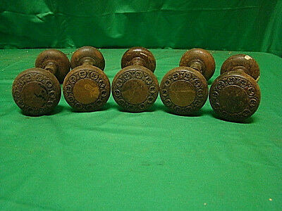 Antique Set Of 5 Iron Ornate Door Knob Sets (10 Knobs) Dfg