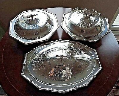 Viners Silver Plate Serving Dishes Set of 3 Viners of Sheffield Silver Plate