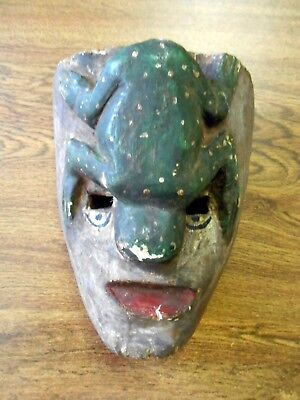 Vintage Orig Hand Carved Dance Mask Central America Mexico Spotted Frog Sloth?