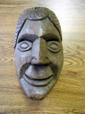 Vintage Orig Hand Carved Dance Mask Central America Mexico Male Caricature