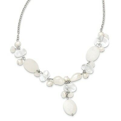 Sterling Silver Synthetic 16in Moonstone/FWC Pearl/Rock Qtz/White Necklace