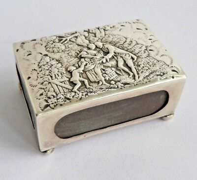 Antique silver table match box sleeve William Harrison Walter Birmingham 1899