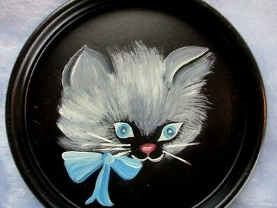 Small Vintage Hand Painted Kitten Cat Tole w/Blue Bow Dresser Jewelry Pin Tray
