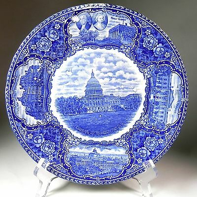 Staffordshire US Capitol Building Blue Historical Transfer Plate& White