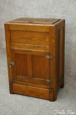 Real Antique Victorian Oak Ice Box Server Pantry Storage Cabinet Industrial