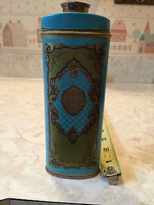 Vintage Tosca Talcum Powder Tin Litho Empty Talc Can Bath Decor