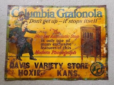 Early 1900's Columbia Grafonola 17.5x23.5 Inch Metal Advertising Sign-Very Rare