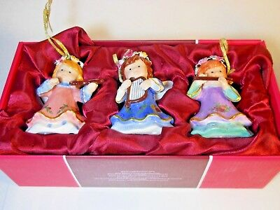 Royal Doulton Albert 3 porcelain Angel Ornaments Old Country Roses Gold Musical