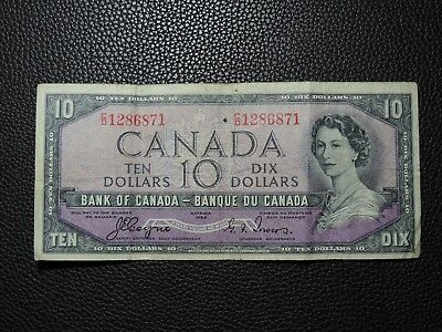 1954 $10 Dollar Bank Note Canada Devil's Face C/D 1286871 Coyne - Towers F Grade