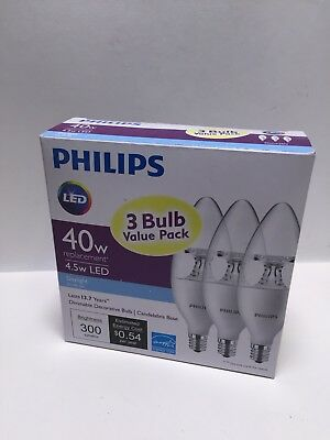 Philips 40W Equivalent Soft White B11 Candlelabra Base LED Light Bulb (3)