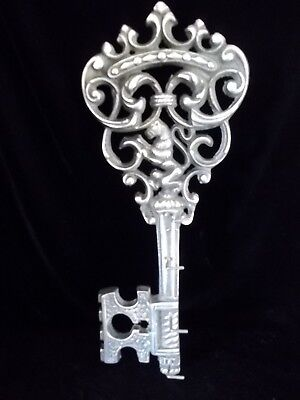 Vintage 60s French Emblem Cast Iron Large Key Wall Hanging Hooks Lion Crown 15""