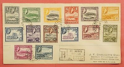 1953 Fdc ? Antigua Qeii Pictorials To $4.80 #108-21 Registered To Usa
