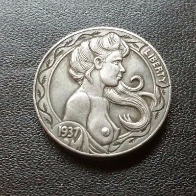 Hobo Nickel coin 1937-D Five Cents Cow Zombie Skeleton/NAKED GIRL ART--PRESSED