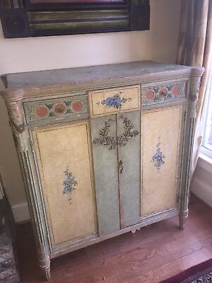 Antique Vintage French Country Shabby Distressed Painted Cabinet