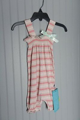 KicKee Pants Little Girls Pink Green Stripes Romper Bow Spring 18-24 months