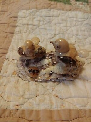 Vintage Seashell Art with Birds, Folk art. Japanese markings. Lovely piece.