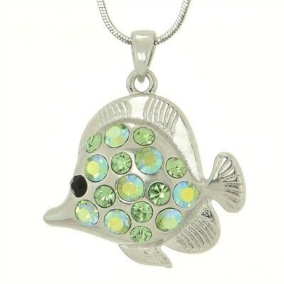 "W Swarovski Crystal Green Fish Aquarium Sea 18"" Chain Pendant Necklace"