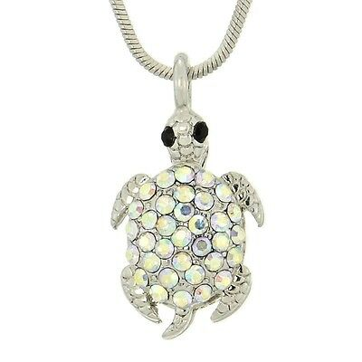 "TURTLE W Swarovski Crystal Sea Ocean Animal Gift AB Pendant Necklace 18"" Chain"