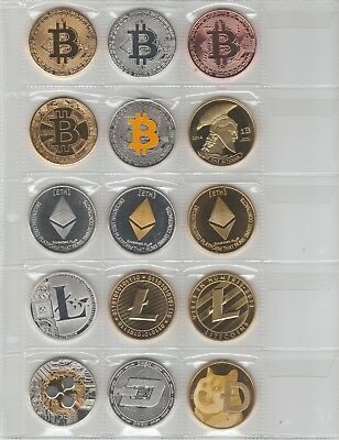 fIfteen 15 varied cryptocurrency coin collectable bitcoin ethereum litecoin dash