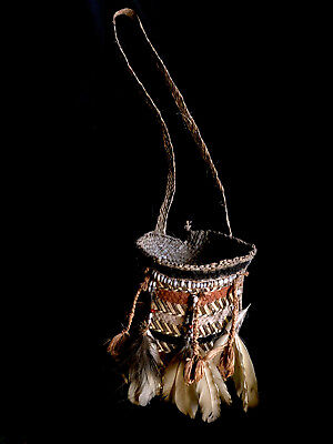 fine ceremonially used sago grub bag richly decorated ASMAT Papua (New Guinea)