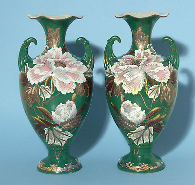 Antique Matching Pair of Green Gilded Floral Japanese Export Vases