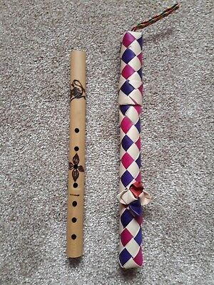 Decorated Cambodian Bamboo Flute/recorder And Carrying Case