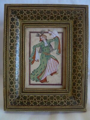"""Old Persian Miniature Framed Painting Dancing Woman  - Artist Signed """"i.suar"""""""