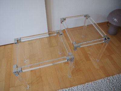 2er Set Plexiglas Tisch Beistelltisch Side Table Pierre Vandel Stil 70er Chrom