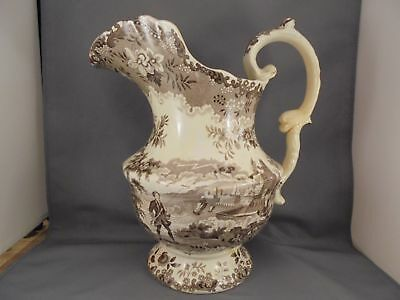 Old Historical Staffordshire Lg Brown Transferware Franklin Flying Kite Pitcher
