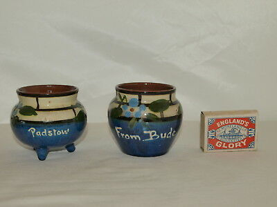 2 TORQUAY POTTERY BLUE VASES WITH TRELLIS PATTERN  Padstow & Bude place names