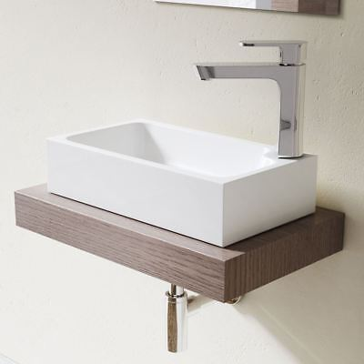 Durovin Wash Sink Basin and Waste Cloakroom Solid Stone Small Countertop RH Tap