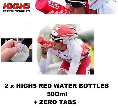 2 x RED HIGH5 WATER DRINKS BOTTLES 500ml + 20 x ZERO ELECTROLYTE TABS TABLETS