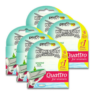 24x Wilkinson Quattro for Women Sensitive Aloe Rasierklingen für Frauen
