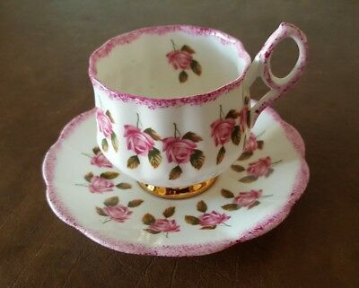 Vintage Rosina Bone China Tea Cup And Saucer Set. Rose Pattern. Made In England.