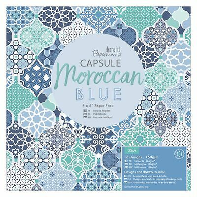 Docrafts Papermania 15 x 15cm Paper Pack (32 Blatt) -  Moroccan Blue 160g