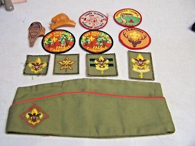 Vintage lot of 1960's Boy Scout Hat Patches Neckerchief Etc Beaver
