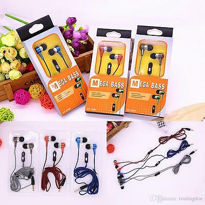 Lot of 10, Mega-Bass-Ear Buds-Superior-sound-quality. Iphone compatible.