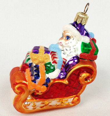 "Santa In Sleigh With Gifts 3.5"" Hanging Christmas Ornament Radko 1990s Beautiful"