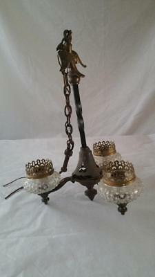 Vintage Cast Metal Wrought Iron 3 Light Chandelier Hobnail Glass & Eagle Finial