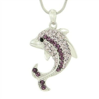 "Dolphin W Swarovski Crystal Purple Ocean Sea Marine Pendant Necklace 18"" Chain"